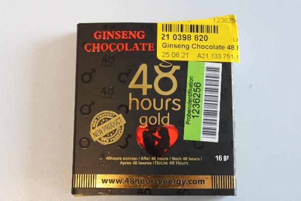 Billede af det ulovlige produkt: Ginseng Chocolate 48 hours Gold