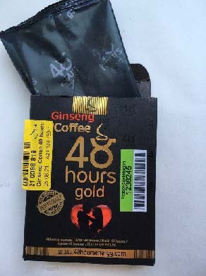Billede af det ulovlige produkt: Ginseng coffee 48 Hours gold