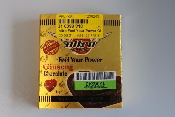 Billede af det ulovlige produkt: nitro Feel Your Power Ginseng Chocolate