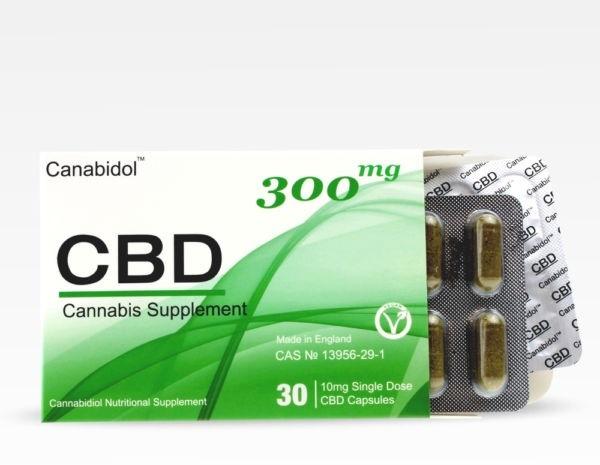 Billede af det ulovlige produkt: Canabidol CBD kapsler 10mg