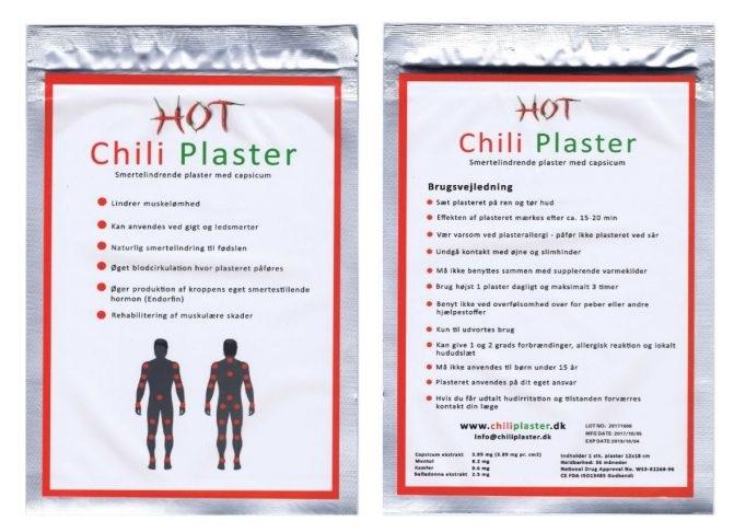 Billede af det ulovlige produkt: Chili Plaster
