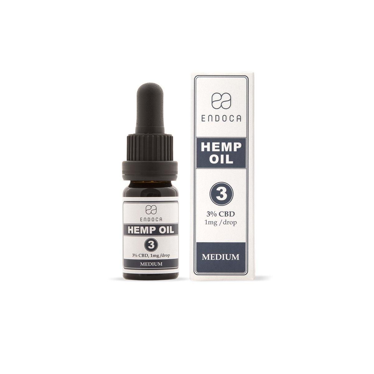 Billede af det ulovlige produkt: ENDOCA Hemp Oil Dråber 3% CBD Olie Medium