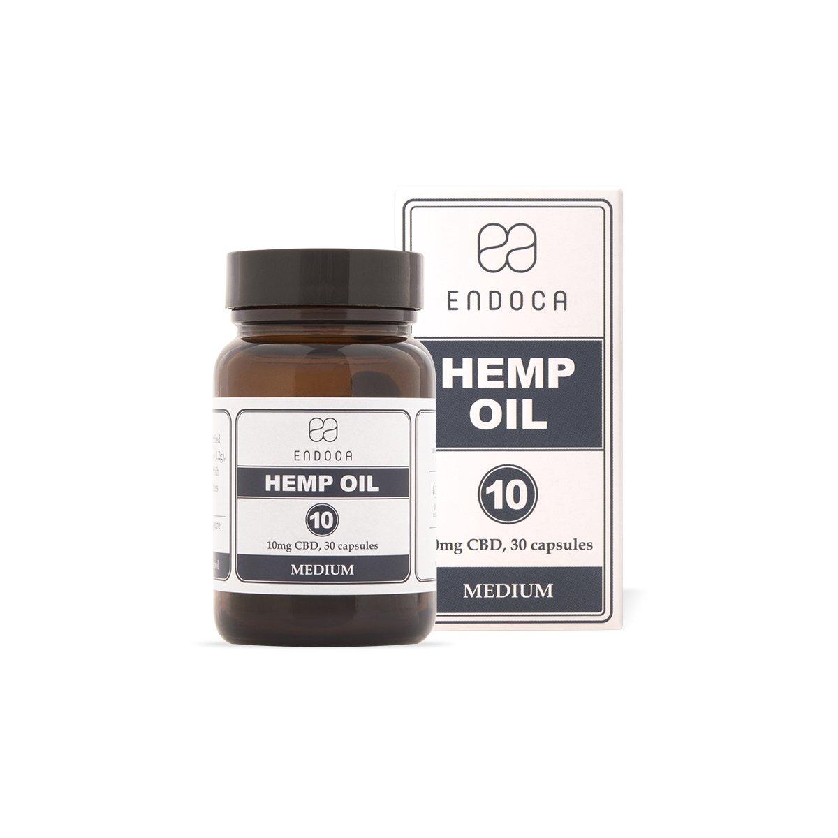 Billede af det ulovlige produkt: ENDOCA Hemp Oil Kapsler 10mg CBD Olie Medium