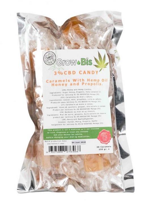 Billede af det ulovlige produkt: GrowBis CBD Candy