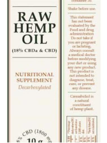 Billede af det ulovlige produkt: RAW Hemp Oil 18%