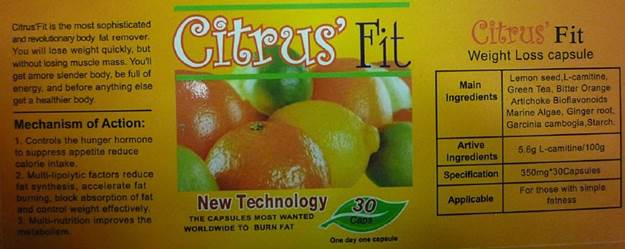 Image of the illigal product: Citrus Fit